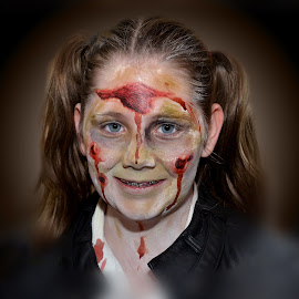Seen better days by Stephen Crawford - People Body Art/Tattoos ( scary, make up, braces, pigtails, zombie, costume, fun, blood, horror, teeth, halloween,  )