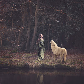 Nature Girl by Becky Wheller - Digital Art Animals ( fantasy, nature, wolf, ethereal, forest, woods, animal )