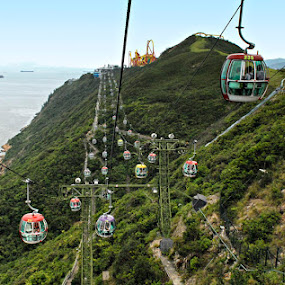 Green Mountain at Ocean Park Hongkong by Silvano Rikiputra II - Landscapes Mountains & Hills