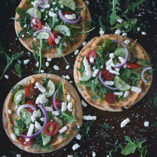 Greek Salad Hummus Pita Pizza