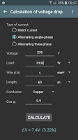Screenshot of Electrical calculations PROKey