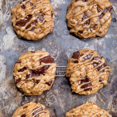 Whole Wheat Chocolate Chunk Oatmeal Cookies with Salted Date Caramel