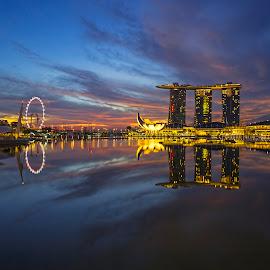 by Gordon Koh - City,  Street & Park  Vistas ( reflection, skyline, blue hour, riverfront, marina bay sands, travel, cityscape, singapore, city )