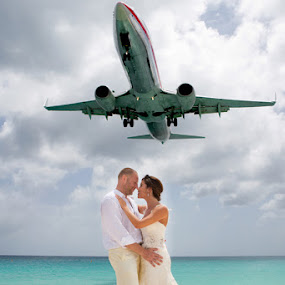Overhead Plane by Brent Foster - Wedding Bride & Groom ( wedding photographers, st. marten destination wedding, destination wedding photography )