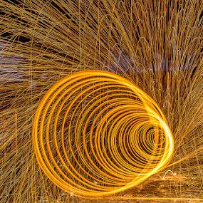 Fiery Tunnel Up Close by Adrian Choo - Abstract Fire & Fireworks ( red, steel wool, spin, sparks, fire )