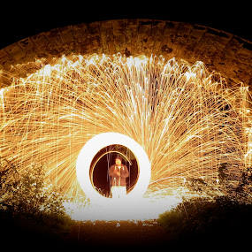 Tunnel of fire by Alex Nicholson - Abstract Fire & Fireworks ( winter, greenway, steel wool, tunnel )