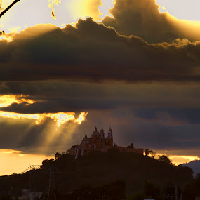 Church, clouds, and sunset by Cristobal Garciaferro Rubio - Landscapes Weather ( clouds, church, sunset, rays, sun )