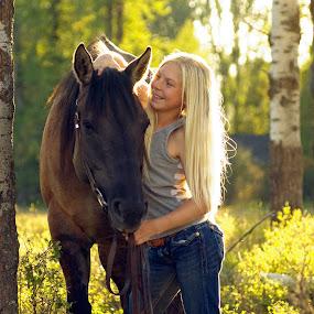 Partners by Giselle Pierce - Babies & Children Children Candids ( little girl, girl, grass, riding, horse, summer )