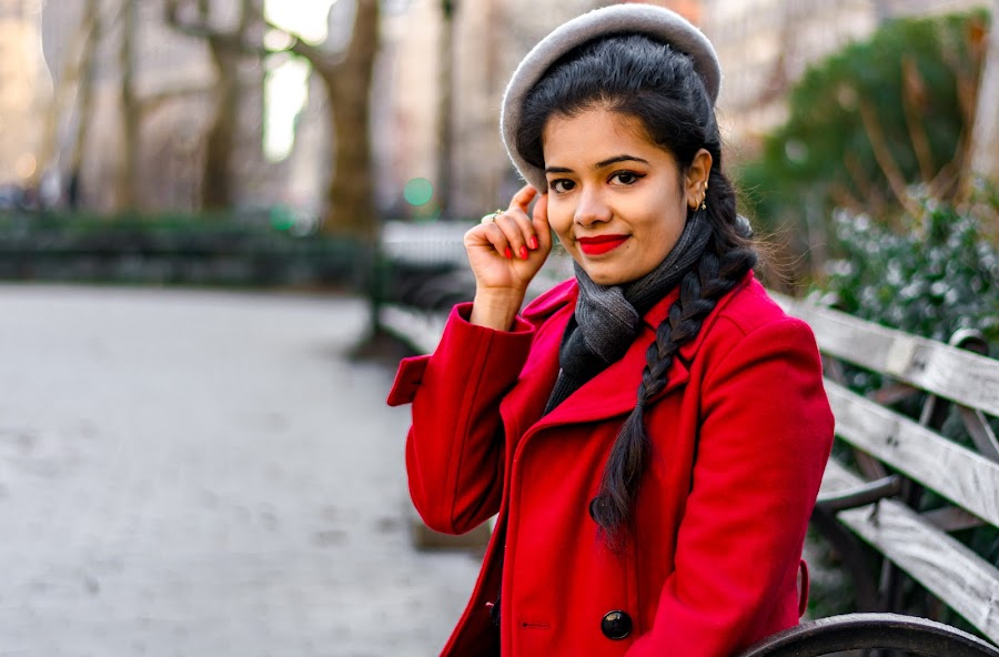 Winter Fashion  by Arnab Dutta - People Portraits of Women ( winter, red, beauty, pretty, women )