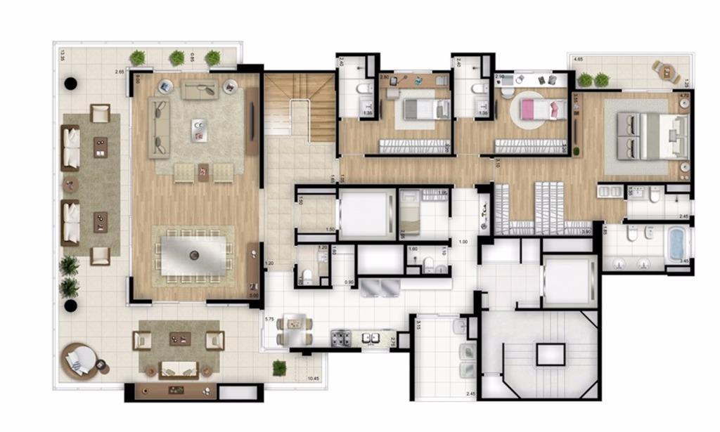 Cobertura Duplex Inferior - 4 suítes - 448m² - Torre Nero