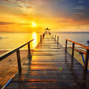 Sunset Rain by Hendri Suhandi - Landscapes Sunsets & Sunrises ( shore, pasir putih, bay, sunset, east java, pier, situbondo, travel, bridge, sunrise, beach, boat )