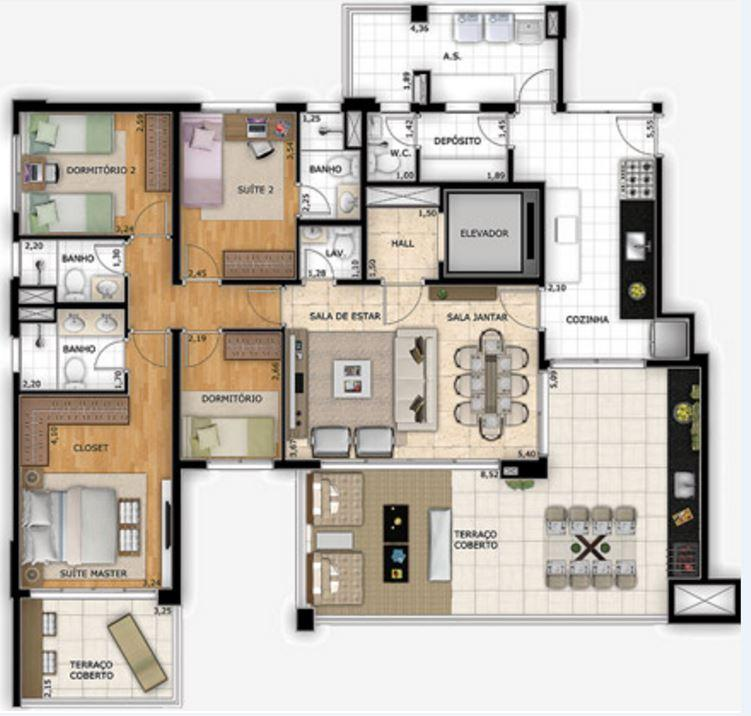Planta Tipo - 163 m²