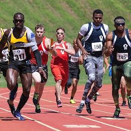 Mixed 4x100 Meter Relay by Elk Baiter - Sports & Fitness Running ( marine, warrior, games, 4x100 meter relay, track, butler field )