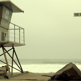 The Strand by David Shayani - City,  Street & Park  Street Scenes ( tower, safety, california, ocean, beach, lifeguard tower )
