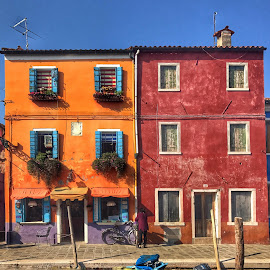 by Mario Horvat - Buildings & Architecture Homes ( orange, houses, red, touristic, italia, blue, colorful, venice, burano, travel, italy )