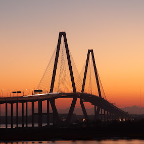 Arthur Ravenel, Jr. Bridge by Daniel Gorman - Buildings & Architecture Bridges & Suspended Structures ( water, charleston, mount pleasant, charleston harbor, cooper river, jr. bridge, bridge, arthur ravenel, scenic, south carolina, river, , golden hour, sunset, sunrise )
