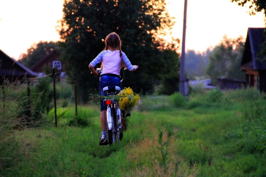 Going Home by Jaideep Abraham - People Street & Candids ( girl, flowers, bicycle )