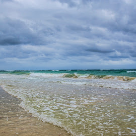 Waves Of Time by Shauna M. Jackson - Landscapes Waterscapes ( water, stormy, clouds, shore, sand,  )
