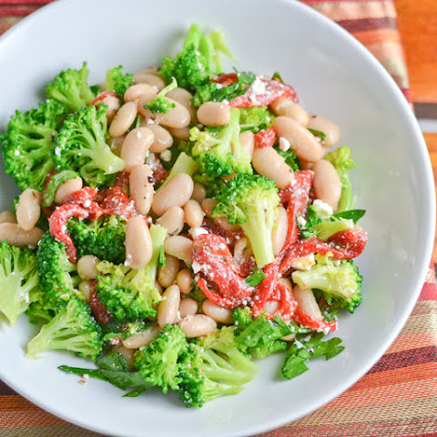 Broccoli with Bean and Red Pepper Salad