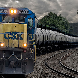 Standard Cab Under Dark Skies by Jacob Hoehler - Transportation Trains ( railroad, csxt, train, storm, oil )