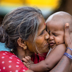 Love by Ravikanth Kurma - People Family ( love, child, kiss, mother, mom and 'kid', senior citizen, mom with kids, mother love )