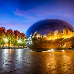 Bean @ Chicago Millennium park by Kevin Miller - City,  Street & Park  City Parks ( reflection, park, bean, chicago millennium park, fall, sunrise, cloud gate, chicago )