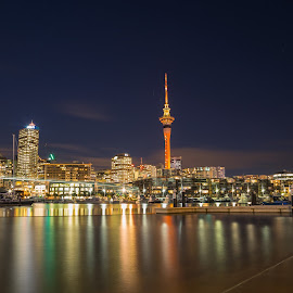 Auckland Skyline at night by Anupam Hatui - City,  Street & Park  Skylines ( night, cityscape, landscape, new zealand, city )