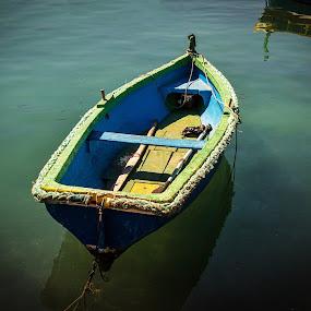 Fishing Boat in Marsaxxlok, Malta by Karin Wollina - Transportation Boats ( water, clear, colors, beautiful, boat, fishing boat )