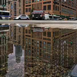 Reflections post rain by Izzy Kapetanovic - City,  Street & Park  Street Scenes ( willis tower, bus, cars, street, buildings, reflections, sears tower, architecture, cityscape, chicago, city )