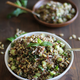 Cooling Tri-Color Quinoa Salad with Cucumber, Mint, and Lime Dressing