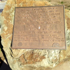 This plaque marks the boundary of the original northeast corner of El Pueblo de la Reina de Los Angeles, founded on September 4, 1781, and established by survey in 1849. Submitted by cjosephjordan