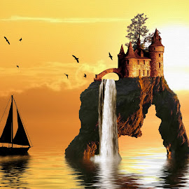 Sunset Castle by Charlie Alolkoy - Illustration Places ( water, reflection, sunset, cliff, sea stack, castle, lake, birds )