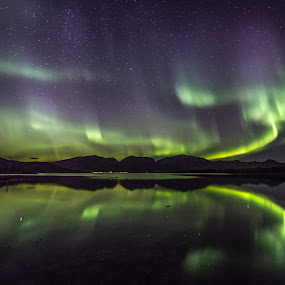 Aurora reflections by Benny Høynes - Landscapes Caves & Formations ( colors, northern lights, aurora borealis, lake, norway )