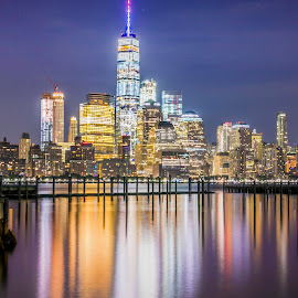 Skyline View New York City by Narendra Mogilipuri - City,  Street & Park  Skylines ( night view, usa new york city, travel, photography,  )