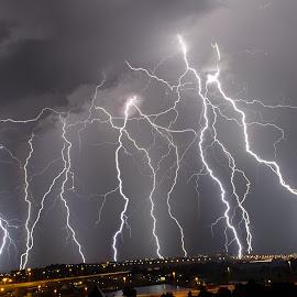 Thundergod's Wrath by Craig Powell - Landscapes Weather ( lightning strike, lightning, thunderstorm, pretoria, south africa, electric storm, storm )