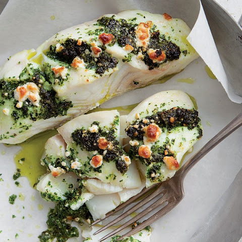 Halibut Stuffed With Kale and Feta Pesto