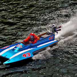 Hydroplane No. 43  by Megary T - Transportation Boats ( rogue river, hydroplane, boats, boatnic2015, apba racing )