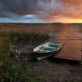 Boat by the lake by Sigitas Baltramaitis - Landscapes Waterscapes ( water, lake, boat, landscape )