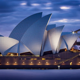 Evening Aria by Rebecca Ramaley - Buildings & Architecture Public & Historical ( sunset, australia, harbour, long exposure, opera house, sydney )