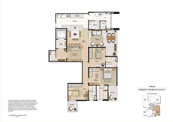 Planta 148 m² Unidades 34, 54 e 74