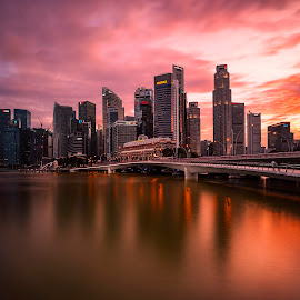 Chromatic Skyline by Gordon Koh - City,  Street & Park  Skylines ( shenton way, reflection, cityscape, singapore, city, fiery, cbd, vista, dramatic, asia, cloud, long exposure, jubilee bridge, waterfront )