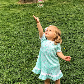 Chasing Bubbles by Michael Smith - Babies & Children Toddlers ( child, bubble, playful, candid, toddler )