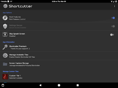 Shortcutter Quick Settings​ Screenshot