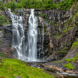 Skjervefossen by Travis Pambu - Landscapes Waterscapes ( waterfalls, hardangerfjord, ulvik, august 2013, norway,  )
