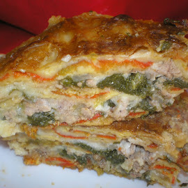 Serbian moussaka by Olga Peric - Food & Drink Cooking & Baking ( bechamel, peppers, meat, spinach, cheese, moussaka, sauce )