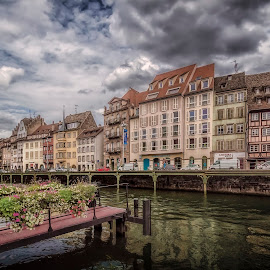Quai Saint-Nicolas by Ole Steffensen - City,  Street & Park  Street Scenes ( haut-rhin, quai saint-nicolas, street, alsace, france, flowers, river, strasbourg )