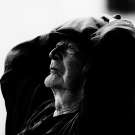 Thoughts by Nikos Stavlas - City,  Street & Park  Street Scenes ( old, salzburg, black and white, street, stavlas nikos, austria, man, street photography )