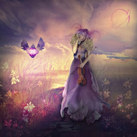 Let it be... by Natali Orion - Digital Art People ( flashlight, gerl, lady, flowers, viola )