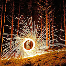 Steelwool spinning by Marius Birkeland - Abstract Light Painting ( light painting, steelwool, trees, forest, steel )