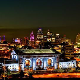 Kansas City Skyline by Travis Wessel - City,  Street & Park  Skylines ( skyline, missouri, kansas city, long exposure, union station, night skyline )